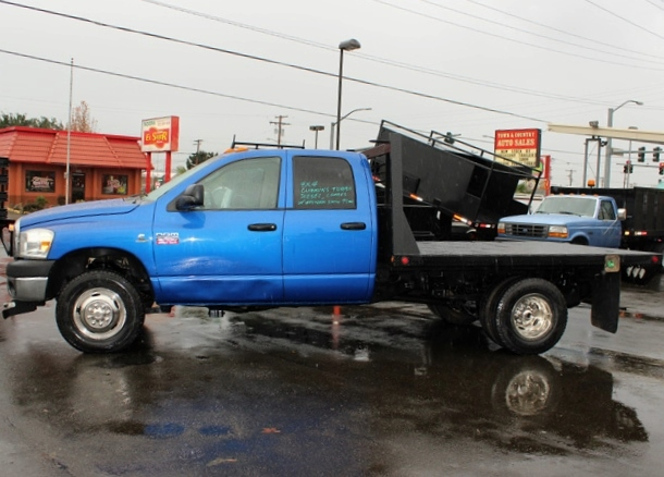 5914.J. 2007 DODGE RAM 3500 4 Door 4×4 Crewcab 1 Ton Flatbed Truck from Town and Country Commercial Truck Sales, Kent (Seattle), WA