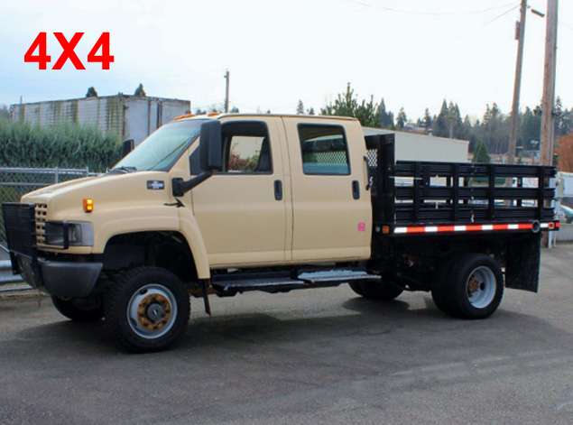 5949.A: 2006 CHEVROLET C4500 Non-CDL 4X4 Crewcab Stakeside Flatbed Truck