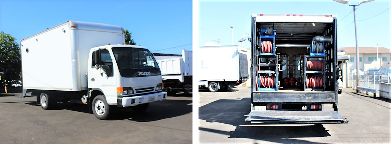 #ES2007: 2007 ISUZU NPR 14 ft. Box truck with pressure washer system.