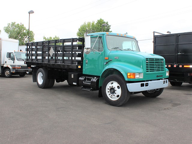 2002 INTERNATIONAL 4700 16 ft. flatbed truck with stake sides from Town and Country Commercial Truck and Trailer Sales, Kent (Seattle), WA