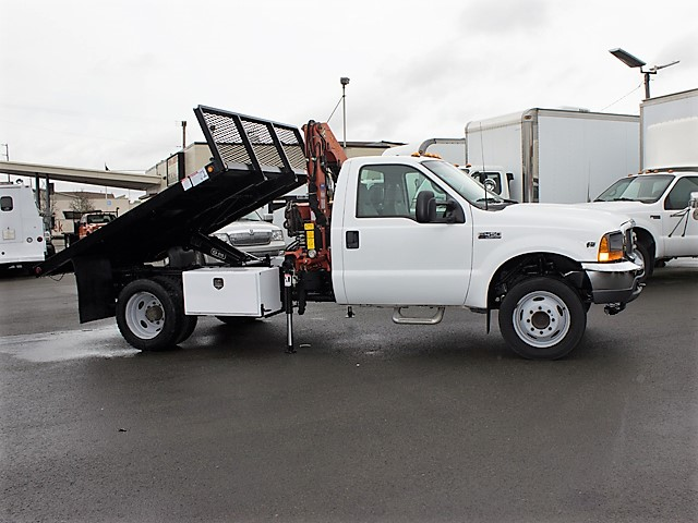 2001 FORD F450 Super Duty 9 ft. flatbed dump truck with articulating boom crane from Town and Country Commercial Truck and Trailer Sales, Kent (Seattle), WA