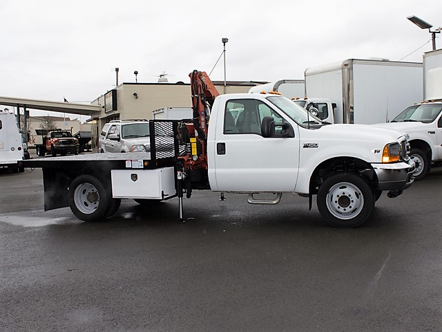 6126.B. 2001 FORD F450 Super Duty 9 ft. flatbed dump truck with articulating boom crane from Town and Country Commercial Truck and Trailer Sales, Kent (Seattle), WA