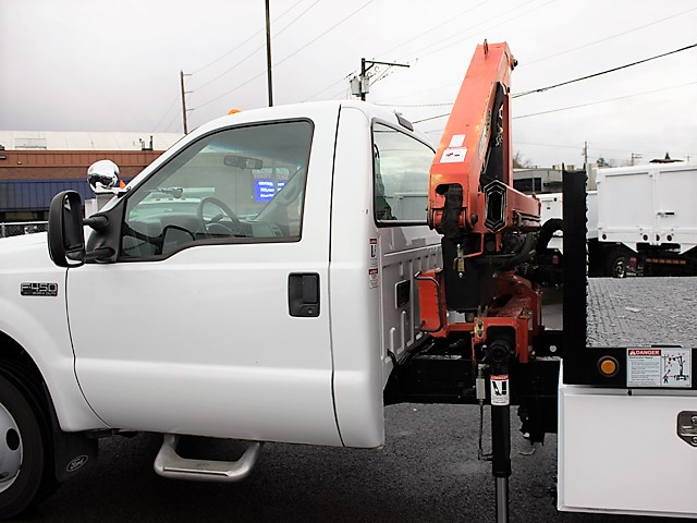 6126.J. 2001 FORD F450 Super Duty 9 ft. flatbed dump truck with articulating boom crane from Town and Country Commercial Truck and Trailer Sales, Kent (Seattle), WA