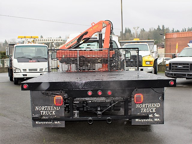 6126.O. 2001 FORD F450 Super Duty 9 ft. flatbed dump truck with articulating boom crane from Town and Country Commercial Truck and Trailer Sales, Kent (Seattle), WA