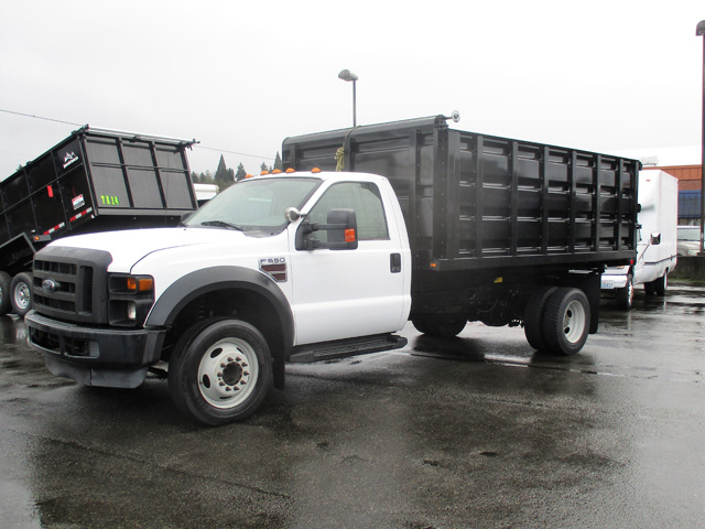 6371.B. 2009 FORD f550 14 ft. Flatbed Dump Truck from Town and Country Truck and Trailer Sales, Kent (Seattle), WA.