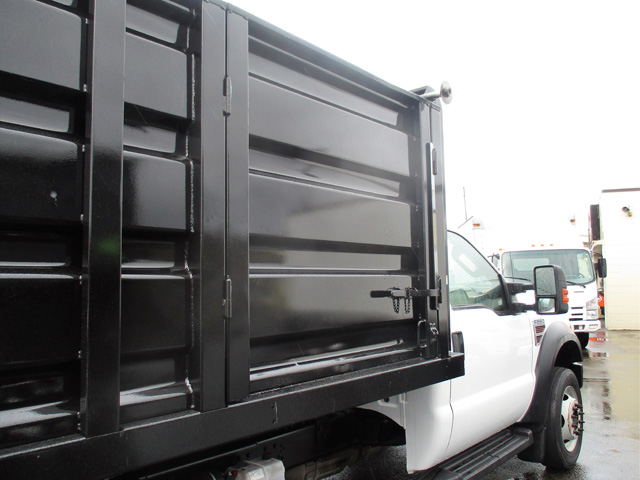 6371.J. 2009 FORD f550 14 ft. Flatbed Dump Truck from Town and Country Truck and Trailer Sales, Kent (Seattle), WA.