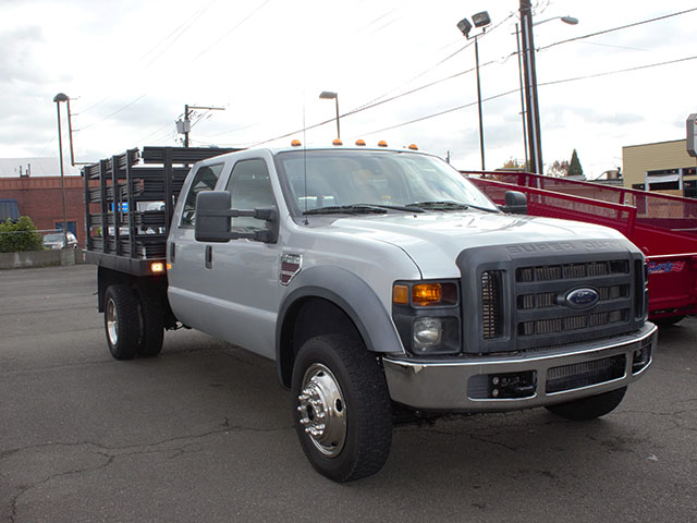 6470.E. 2008 Ford F450 Super Duty 4x4 Crewcab 9 ft. Stakeside Truck from Town and Country Truck and Trailer Sales, Kent (Seattle), WA.