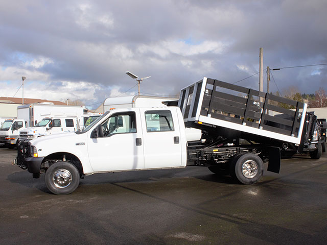 6374.B. 2003 FORD F350 Non-CDL 4x4 Crewcab Dump Truck from Town and Country Truck and Trailer Sales, Kent (Seattle), WA.