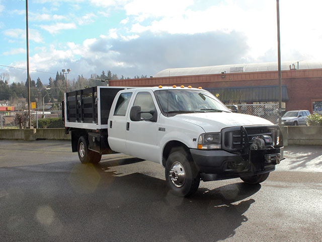 6374.D. 2003 FORD F350 Non-CDL 4x4 Crewcab Dump Truck from Town and Country Truck and Trailer Sales, Kent (Seattle), WA.